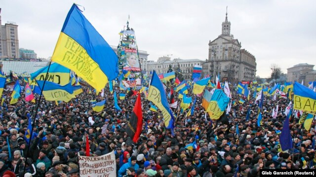 A rally on Kyiv's Maidan Nezalezhnosti, or Independence Square, in early December 2013, following a decision by then-President Viktor Yanukovych to back out of a deal on closer ties with the European Union.