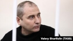 RUSSIA -- Shaltai-Boltai hacker group leader Vladimir Anikeyev attendsa a court hearing in Moscow, January 12, 2017