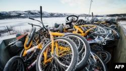 Велосипеды, на которых беженцы пересекли границу из России в Норвегию