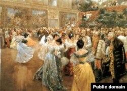 Император Франц Иосиф на балу в Вене. Картина Вильгельма Гаузе (1900)