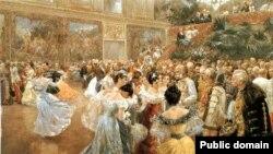 """Aristocrați în jurul Împăratului Franz Josef la un bal la Palatul imperial Hofburg din Viena. """"Hofball in Wien"""", acuarelă de Wilhelm Gause (1900)."""