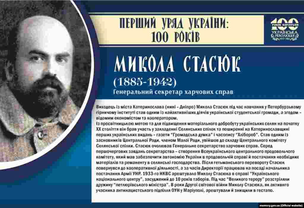 Микола Стасюк, генеральний секретар харчових справ