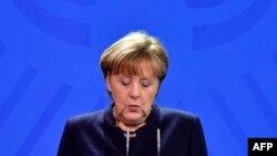Angela Merkel în cursul declarației pentru presă de astăzi