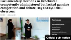 YeXHT rasmiy saytida O'zbekistondagi parlament saylovlari haqida berilgan press-reliz
