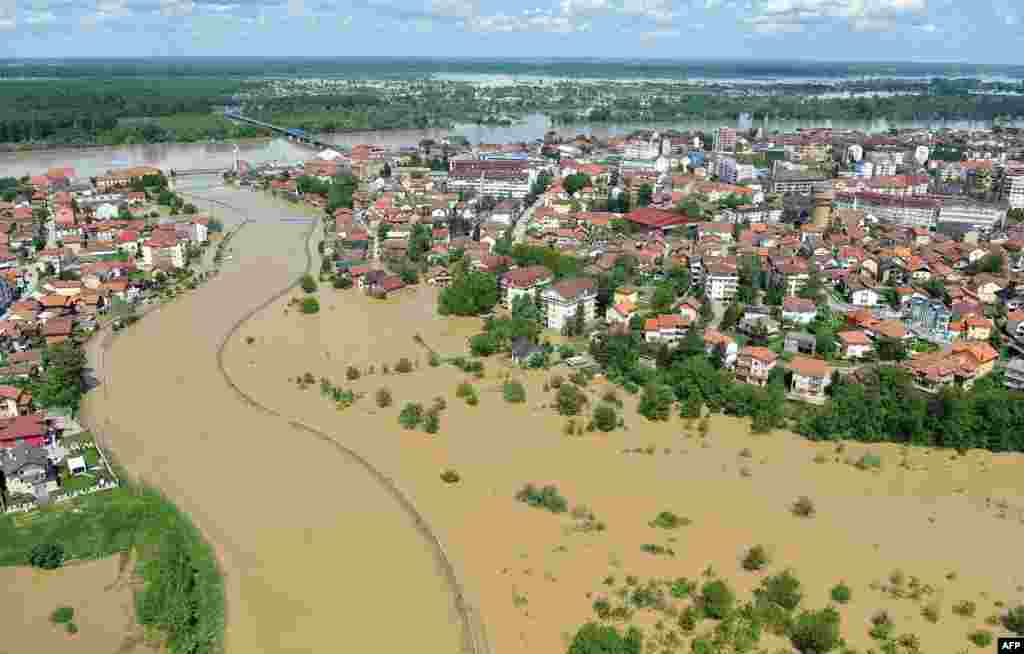 An aerial view shows the town of Brcko in northern Bosnia-Herzegovina on May 18.