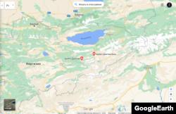 Жетим-Тоонун картадан көрүнүшү. «Google Maps» сервисинен алынган скриншот.