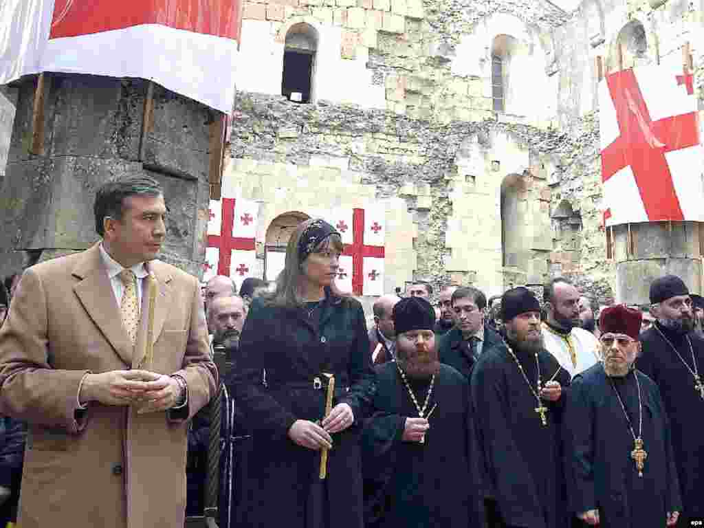 Such is the symbolic significance of Bagrati Cathedral, Georgian President Mikheil Saakashvili (left) arranged a special ceremony there to bless him as head of state after his inauguration in 2008.
