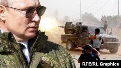Владимир Путин и военные действия в Ливии, коллаж