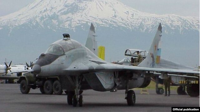 Armenia - A Russian MiG-29 fighter jet is seen at Erebuni airport in Yerevan against the backdrop of Mount Ararat.