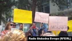 протест на новинарите за ослободување на Кежаровски