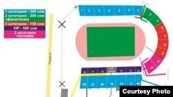 Схема стадиона имени Д. Омурзакова.