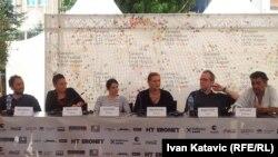 """Sa press konferencije poslije prikazivanja filma """"Obrana i zaštita"""", 17.8.2013."""