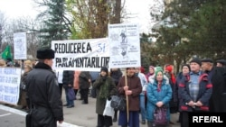 Moldovan Communist Party supporters rallied in front of parliament in December.