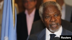 UN peace envoy Kofi Annan speaks to the media at a hotel after returning from a meeting with President Bashar al-Assad in Damascus on July 9.
