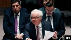 Russian UN ambassador Vitaly Churkin proposed blacklisting two Syrian rebel groups that he says have ties to Islamic State and Al-Qaeda.