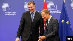 Donald Tusk i Aleksandar Vučić u Briselu