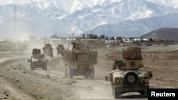 A joint U.S.-Afghan convoy in in Nangarhar Province, Afghanistan in March 2012