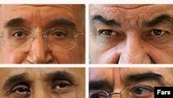از چپ و بالا؛ مهدی کروبی، محسن رضایی، محمود احمدینژاد و میرحسین موسوی، چهار نامزد تأیید صلاحیتشده در دهمین انتخابات ریاست جمهوری ایران