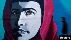 Граффити с изображением Малалы Юсафзай в Нью-Йорке