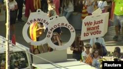 Демонстрация сторонников референдума о независимости Каталонии.