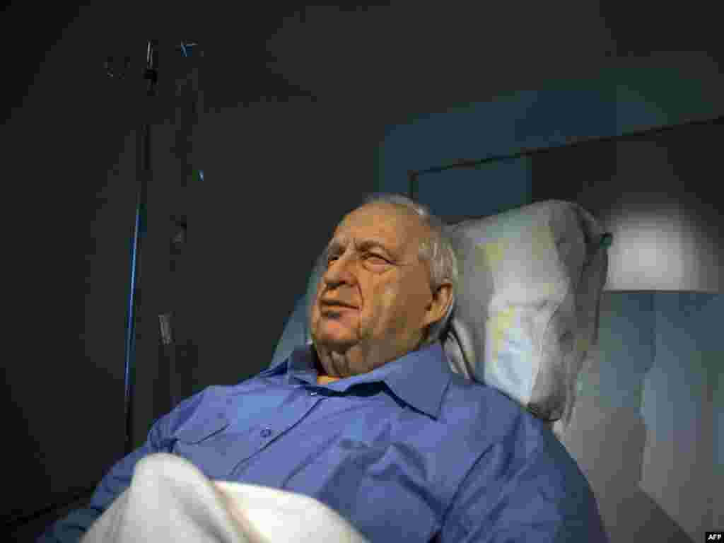 A controversial installation by Israel artist Noam Braslavsky in a Tel Aviv gallery depicts former Israeli Prime Minister Ariel Sharon lying in his hospital bed. Sharon has been comatose since a stroke in 2006. Photo by AFP