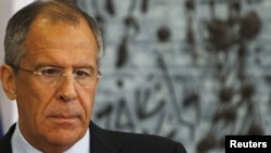Israel -- Russian Foreign Minister Sergei Lavrov at a press conference in Jerusalem, 29Jun2010
