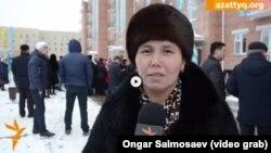 Многодетная мать Шолпан Сайымова в день получения квартиры. Кызылорда, 30 декабря 2015 года.