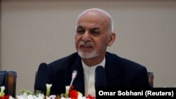 Afghan President Ashraf Ghani speaks during during the conference in Kabul on February 28.