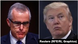 FBI Deputy Director Andrew McCabe (left) and President Donald Trump