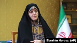 Shahindokht Molaverdi, a top adviser to Iran's president on human rights, gives an interview to The Associated Press at her office in Tehran, September 8, 2018.