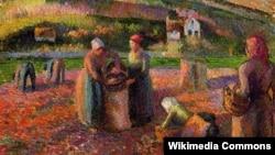 Каміль Пісаро, «Капаньне бульбы» (1893). Фрагмэнт карціны