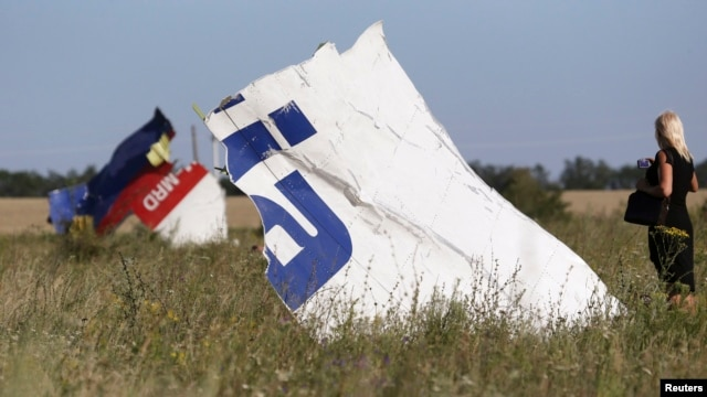A woman takes a photograph of wreckage at the crash site of Malaysia Airlines Flight MH17 near the village of Hrabove in Ukraine's Donetsk region on July 26.
