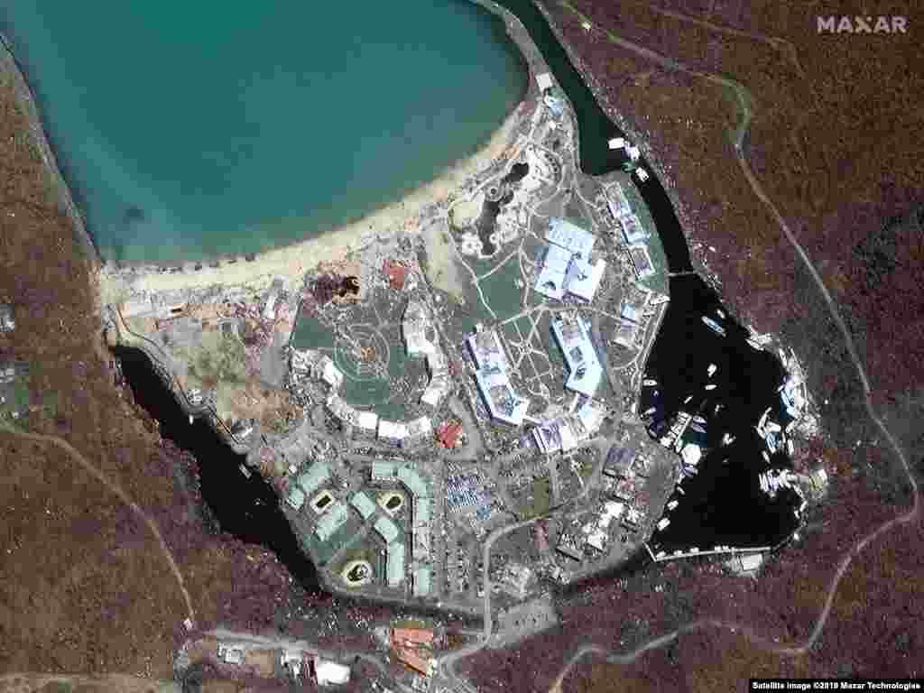 SAINT MARTIN -- Satellite image shows Anse Marcel at Saint Martin on September 11, 2017 (after the Hurricane Irma)
