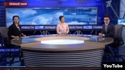 """Скриншот новостной программы на «Первом канале """"Евразия""""»."""