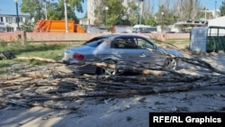 Упавшее на автомобиль деревов Керчи, 1 октября 2021 года