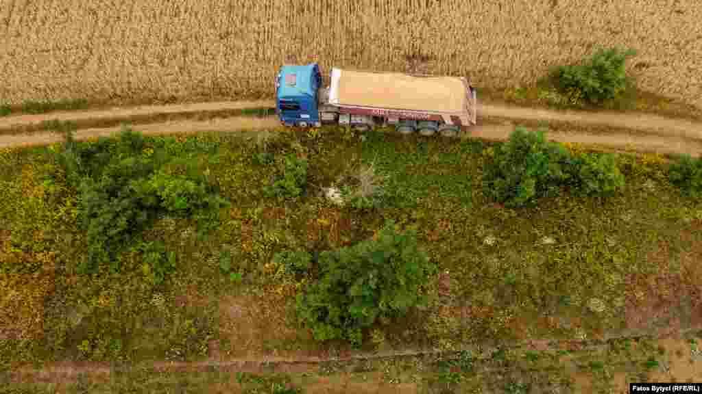 Një kamion transporton grurin e korrur në afërsi të Prishtinës.