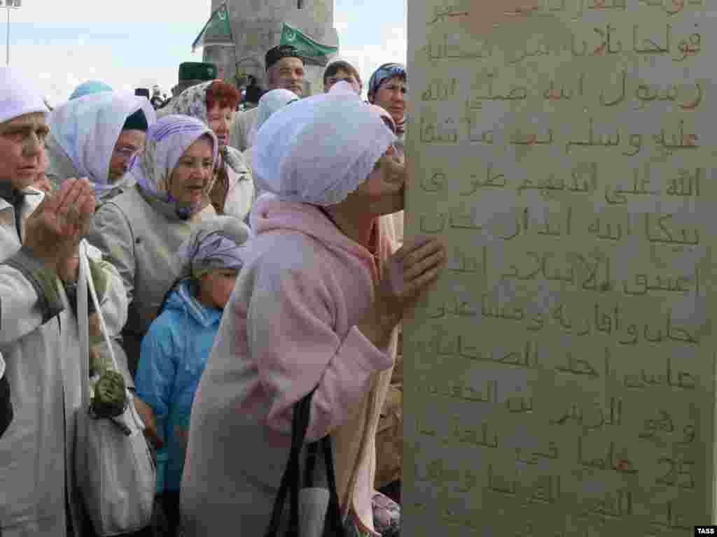Muslim women attend an event to celebrate the 1,122nd anniversary of the adoption of Islam in Volga Bulgaria in Russia's Republic of Tatarstan.Photo by Alexei Nasyrov for ITAR-TASS