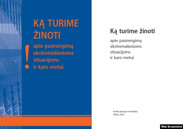 The cover of a new government-issued Lithuanian manual for dealing with a foreign invasion and other potential catastrophes.