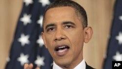 Președine Barack Obama în timpul discursului pronunțat ieri la Departamentul de Stat