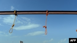 Afghanistan -- Nooses hang at the site of execution in Pul-e-Charkhi prison, on the outskirts of Kabul, October 8, 2014