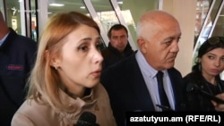 Armenia - Representatives of the ORO opposition alliance, Elinar Vartanian (L) and Stepan Markarian, speak to reporters at the Erebuni hospital in Yerevan, 14Mar2017.