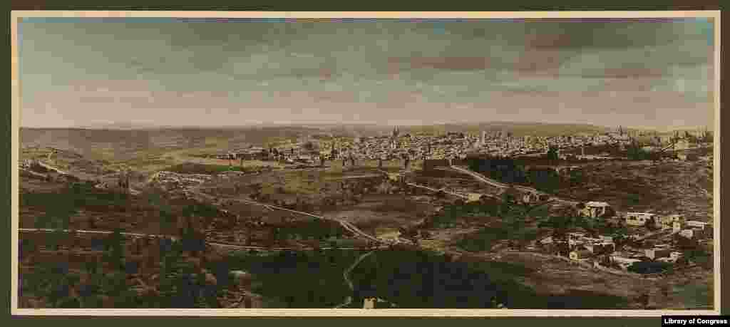 Panorama of Jerusalem, 1919. The city is claimed by both Israel and the Palestinians. In 1919, Jerusalem and Palestine were occupied by British forces, which had captured the region from the Ottomon Empire during World War I.