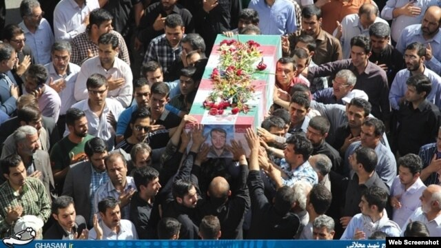 One of the photos that the Ghasam.ir website was publishing, purportedly of the coffin of IRGC member Alireza Moshajari from his funeral in Tehran on June 16.