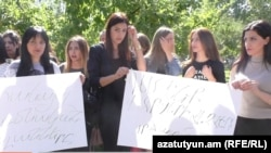Armenia -- Students of Shirak State University boycott classes in Gyumri, 26Sept2017.
