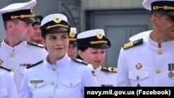 Старшина Катерина Нікітенко на урочистостях з нагоди Дня Військово-морських сил України. 4 липня 2021 року, Одеса