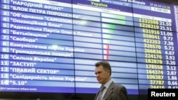 Украинадаги парламент сайловларида берилган овозлар таблоси.
