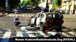 Місце вибуху автомобіля, в якому їхав Павло Шеремет