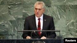 Presidenti i Serbisë Tomisllav Nikoliq gjatë fjalimit në OKB