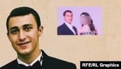 """Рудольф Захарьяев (фото из аккаунта в социальной сети """"ВКонтакте"""") и фото жениха и невесты, которое можно разглядеть на видео с празднования свадьбы в ТЦ """"Европейский"""", где одним из гостей была Лидия Слуцкая"""