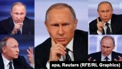 Президент России Владимир Путин во время преcc-конференции 18 декабря.